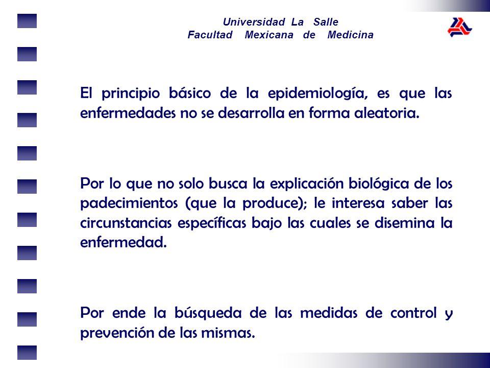 Universidad La Salle Facultad Mexicana de Medicina El principio básico de la epidemiología, es que las enfermedades no se desarrolla en forma aleatori