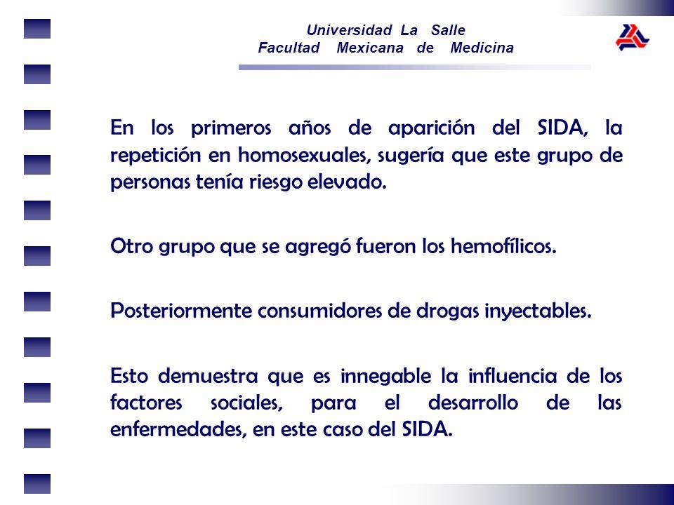 Universidad La Salle Facultad Mexicana de Medicina En los primeros años de aparición del SIDA, la repetición en homosexuales, sugería que este grupo d