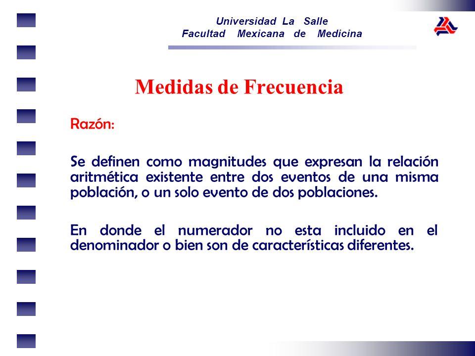 Universidad La Salle Facultad Mexicana de Medicina Razón: Se definen como magnitudes que expresan la relación aritmética existente entre dos eventos d