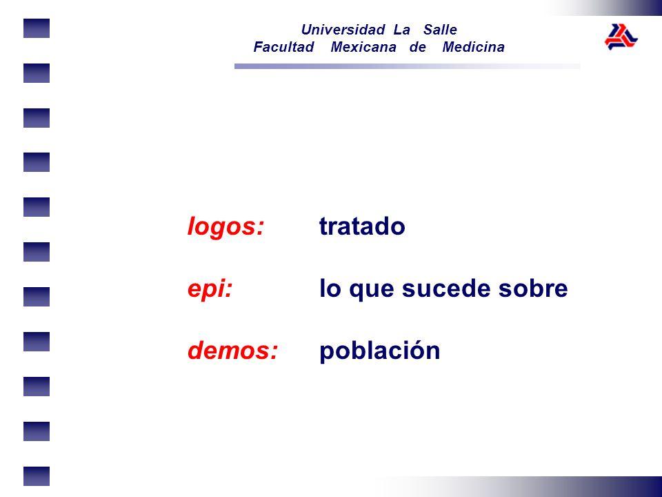 Universidad La Salle Facultad Mexicana de Medicina logos: tratado epi:lo que sucede sobre demos:población
