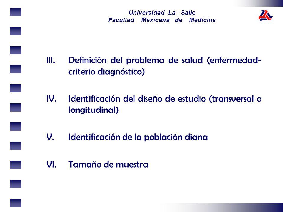 Universidad La Salle Facultad Mexicana de Medicina III.Definición del problema de salud (enfermedad- criterio diagnóstico) IV.Identificación del diseñ