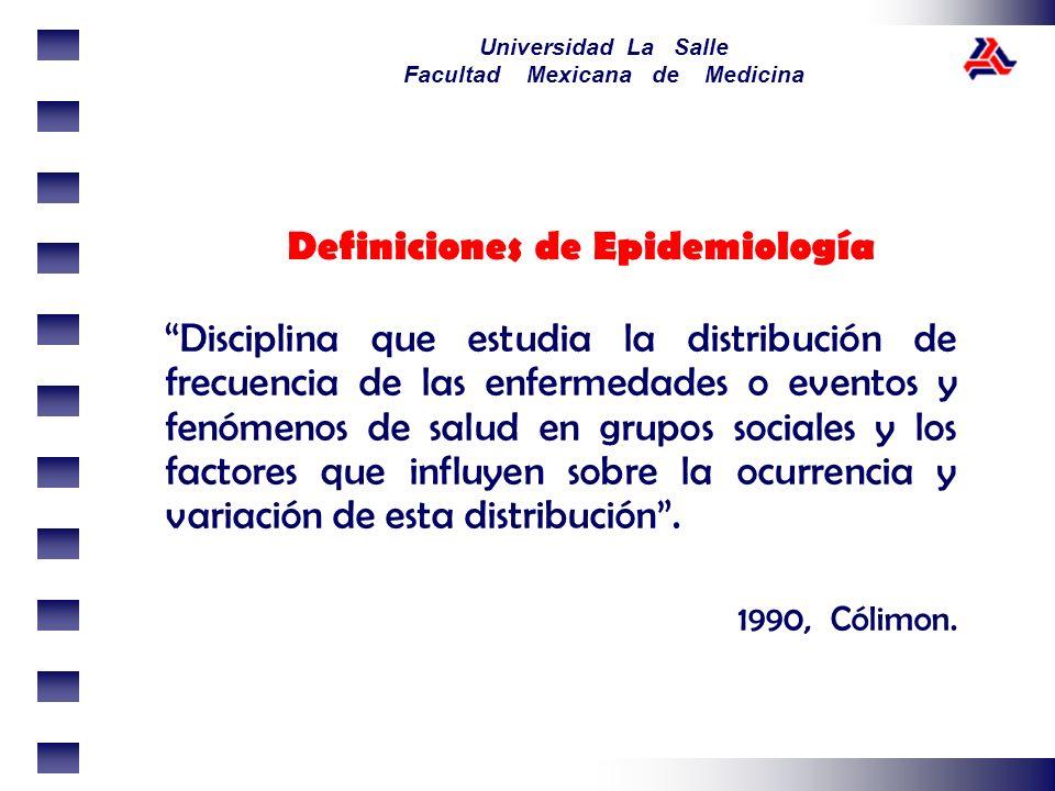 Universidad La Salle Facultad Mexicana de Medicina Definiciones de Epidemiología Medio para estudiar las determinantes de las decisiones en salud pública y medicina comunitaria y el impacto de estas decisiones en los individuos, grupos de individuos, poblaciones, enfermedades, forma en que se manejan y forma en que se analiza la salud 1996, Jenicek.