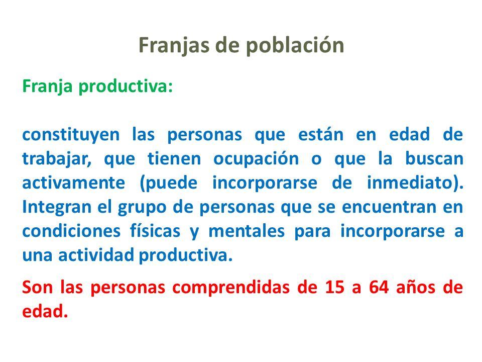 Franjas de población Franja productiva: constituyen las personas que están en edad de trabajar, que tienen ocupación o que la buscan activamente (pued