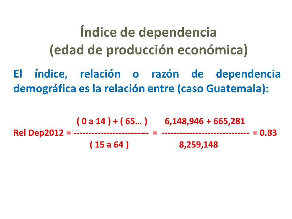 Índice de dependencia (edad de producción económica) El índice, relación o razón de dependencia demográfica es la relación entre (caso Guatemala): ( 0