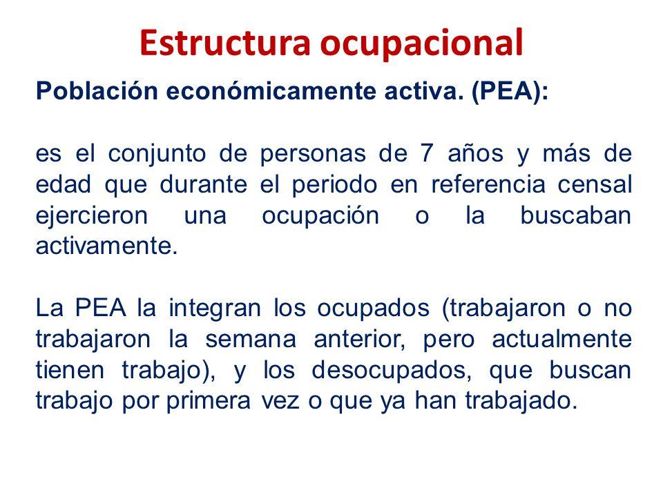 Estructura ocupacional Población económicamente activa. (PEA): es el conjunto de personas de 7 años y más de edad que durante el periodo en referencia