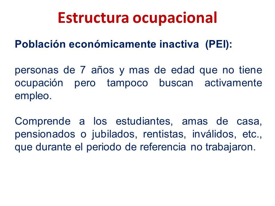 Estructura ocupacional Población económicamente inactiva (PEI): personas de 7 años y mas de edad que no tiene ocupación pero tampoco buscan activament