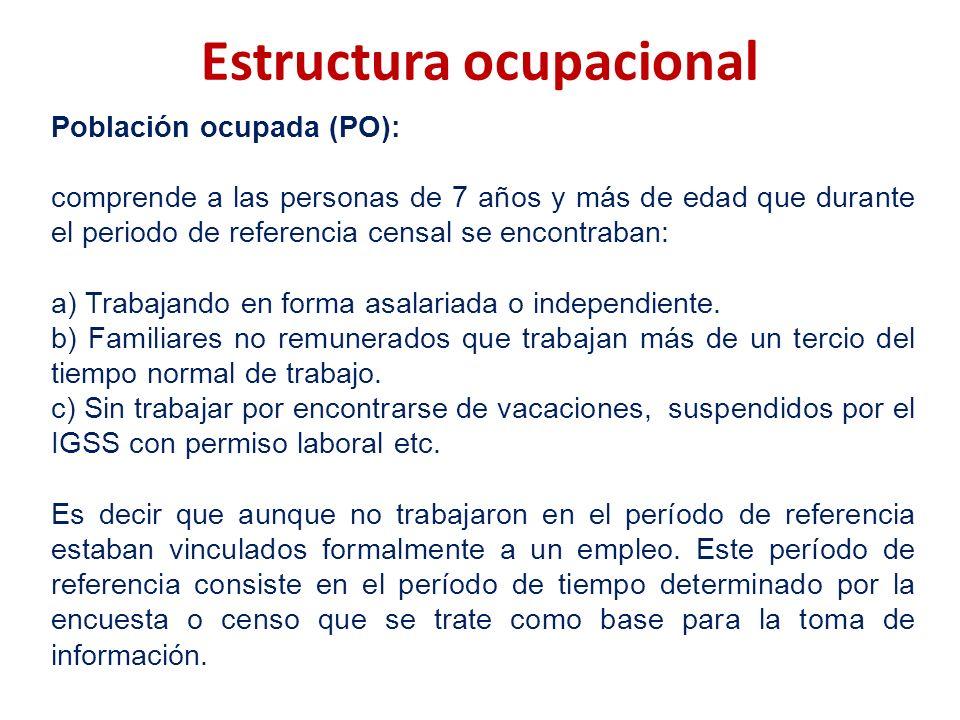 Estructura ocupacional Población ocupada (PO): comprende a las personas de 7 años y más de edad que durante el periodo de referencia censal se encontr