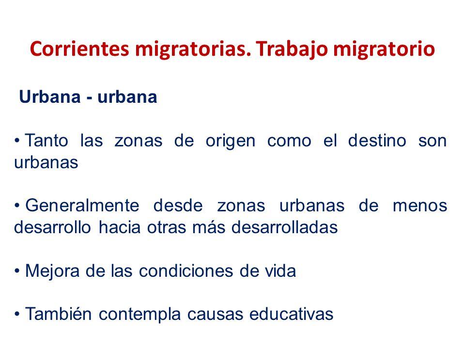 Corrientes migratorias. Trabajo migratorio Urbana - urbana Tanto las zonas de origen como el destino son urbanas Generalmente desde zonas urbanas de m