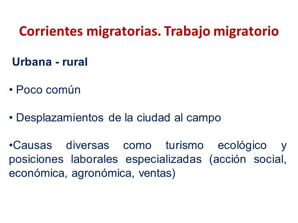 Corrientes migratorias. Trabajo migratorio Urbana - rural Poco común Desplazamientos de la ciudad al campo Causas diversas como turismo ecológico y po