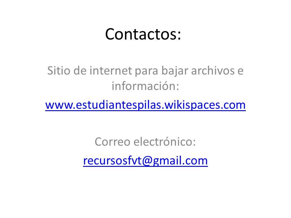 Contactos: Sitio de internet para bajar archivos e información: www.estudiantespilas.wikispaces.com Correo electrónico: recursosfvt@gmail.com