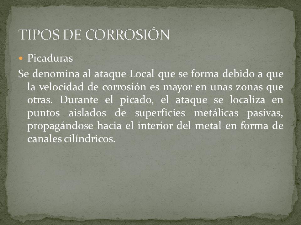 Picaduras Se denomina al ataque Local que se forma debido a que la velocidad de corrosión es mayor en unas zonas que otras. Durante el picado, el ataq
