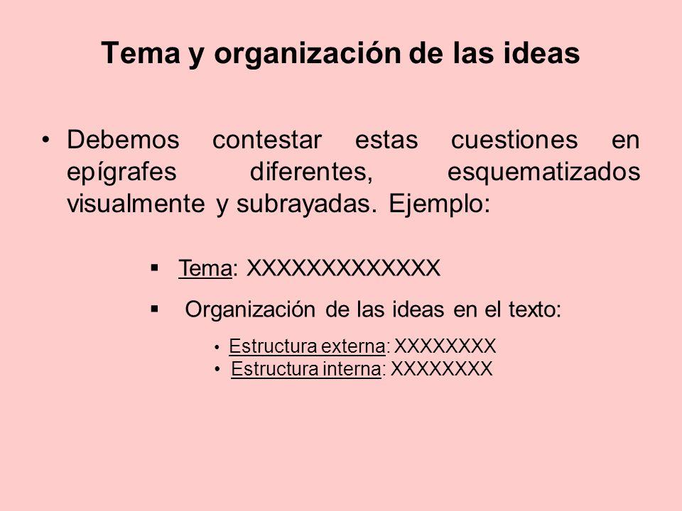Tema y organización de las ideas Debemos contestar estas cuestiones en epígrafes diferentes, esquematizados visualmente y subrayadas. Ejemplo: Tema: X