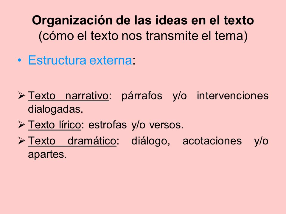Organización de las ideas en el texto (cómo el texto nos transmite el tema) Estructura externa: Texto narrativo: párrafos y/o intervenciones dialogada