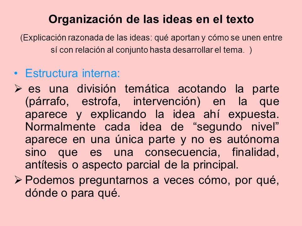 Organización de las ideas en el texto (Explicación razonada de las ideas: qué aportan y cómo se unen entre sí con relación al conjunto hasta desarroll
