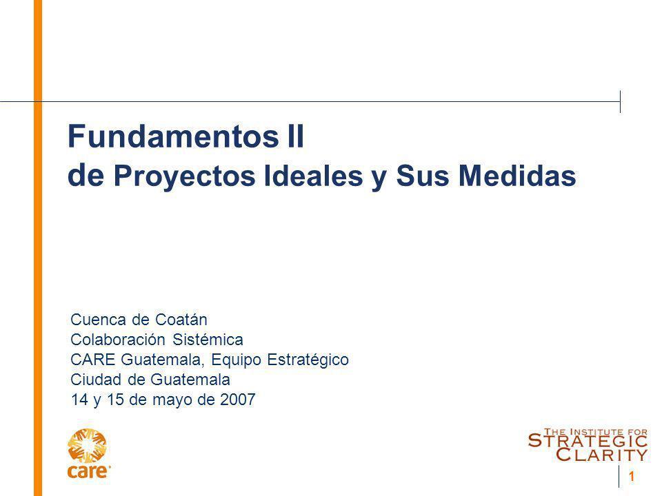 1 Fundamentos II de Proyectos Ideales y Sus Medidas Cuenca de Coatán Colaboración Sistémica CARE Guatemala, Equipo Estratégico Ciudad de Guatemala 14
