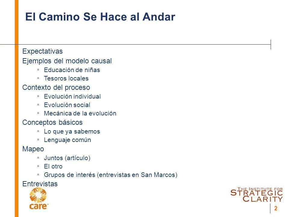 2 El Camino Se Hace al Andar Expectativas Ejemplos del modelo causal Educación de niñas Tesoros locales Contexto del proceso Evolución individual Evol