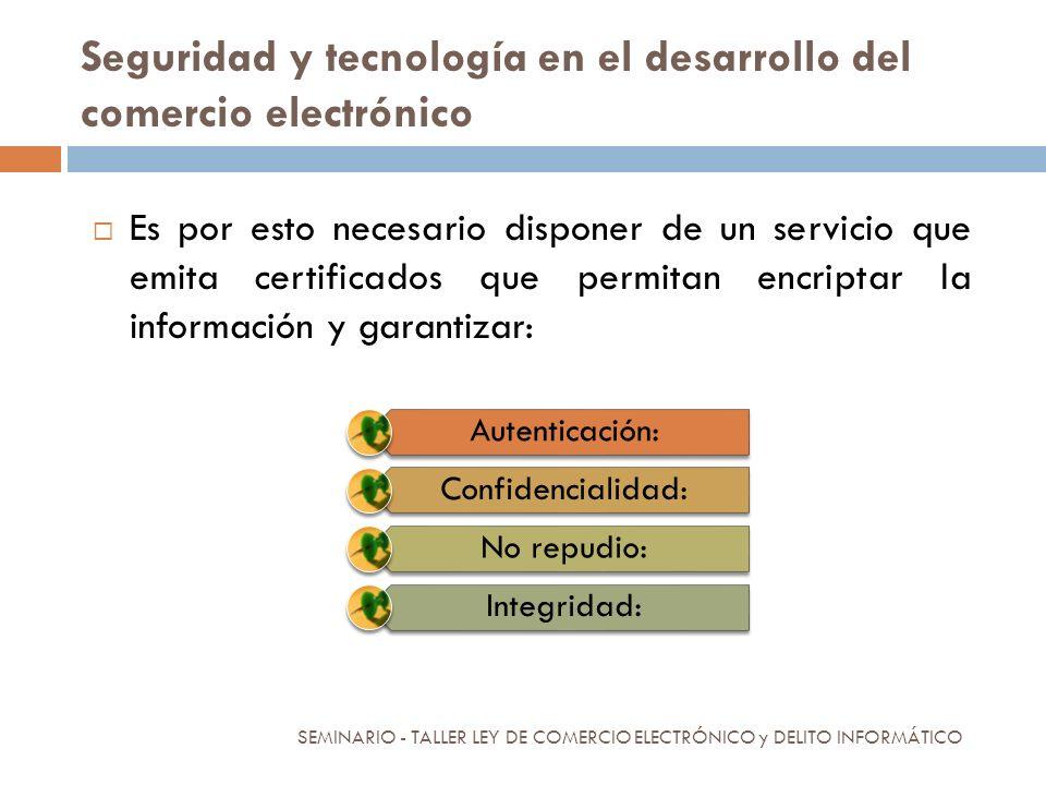 Seguridad y tecnología en el desarrollo del comercio electrónico Es por esto necesario disponer de un servicio que emita certificados que permitan enc