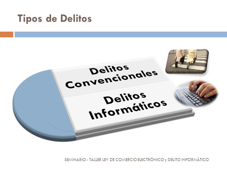 Tipos de Delitos SEMINARIO - TALLER LEY DE COMERCIO ELECTRÓNICO y DELITO INFORMÁTICO