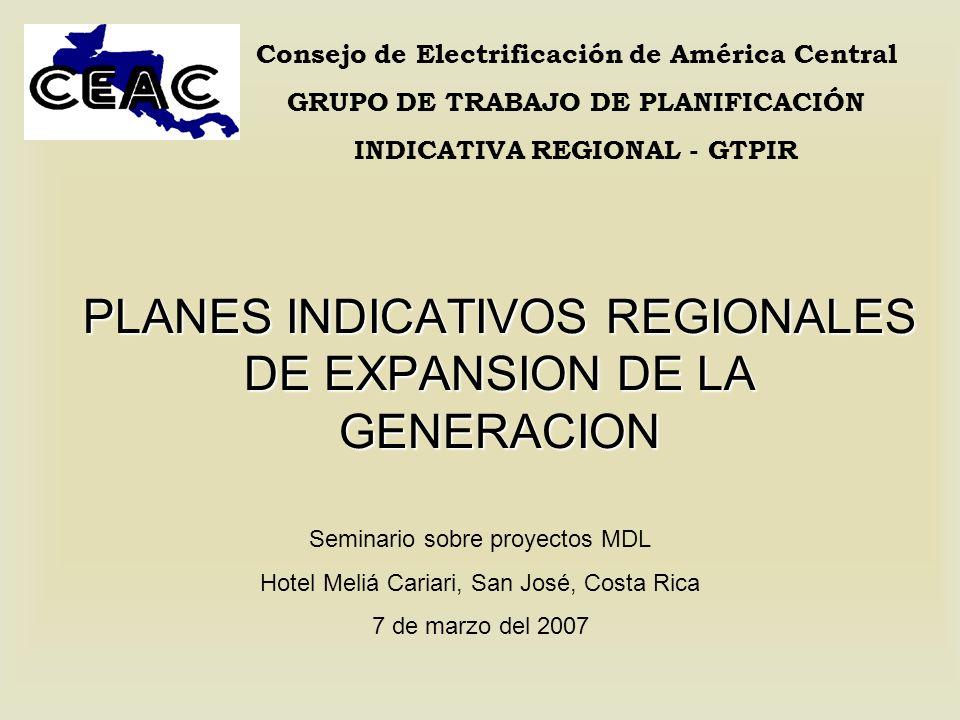 GRUPO DE TRABAJO DE PLANIFICACIÓN INDICATIVA REGIONAL Programa coordinado por el Consejo de Electrificación de América Central (CEAC) Grupo conformado por los planificadores de cada una de las seis empresas eléctricas estatales y de la Comisión Nacional de Energía de Nicaragua Objetivo: Establecer una base de datos regional y planes indicativos de generación Herramientas: Super/Olade-BID y SDDP