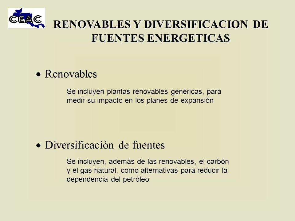 RENOVABLES Y DIVERSIFICACION DE FUENTES ENERGETICAS Renovables Diversificación de fuentes Se incluyen plantas renovables genéricas, para medir su impa