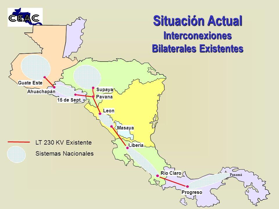 Situación Actual Interconexiones Bilaterales Existentes Supaya Panamá Liberia Masaya Pavana Progreso Ahuachapán Leon Rio Claro 15 de Sept. Guate Este