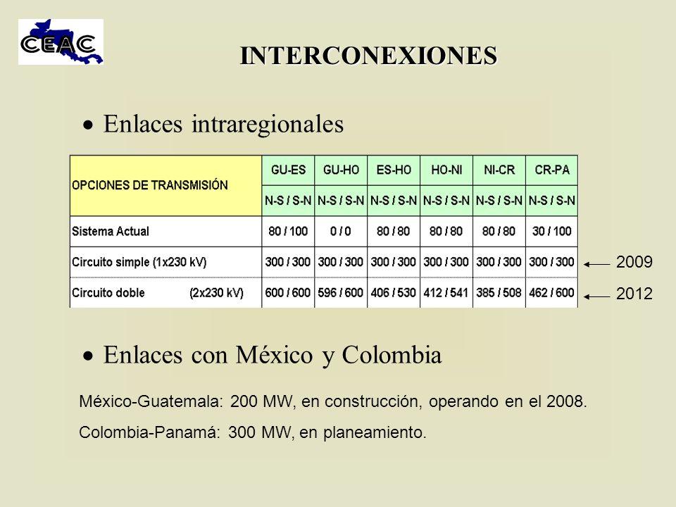 INTERCONEXIONES Enlaces intraregionales Enlaces con México y Colombia México-Guatemala: 200 MW, en construcción, operando en el 2008. Colombia-Panamá:
