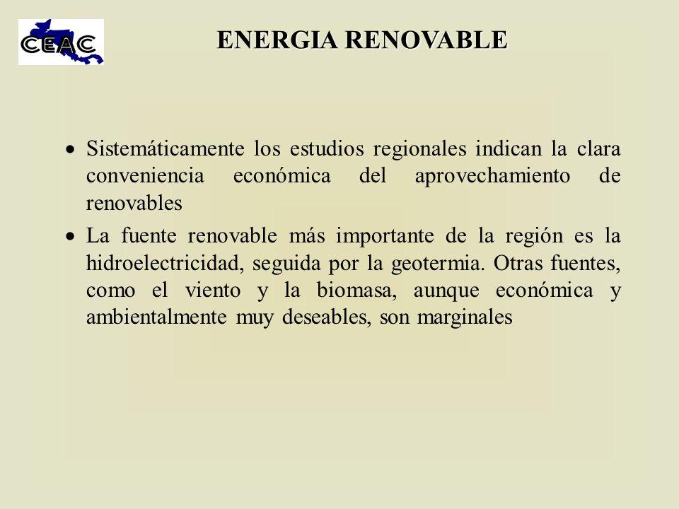 ENERGIA RENOVABLE Sistemáticamente los estudios regionales indican la clara conveniencia económica del aprovechamiento de renovables La fuente renovab