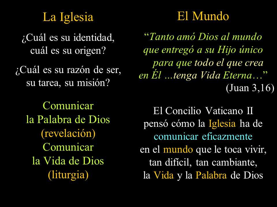 La Iglesia ¿Cuál es su identidad, cuál es su origen? ¿Cuál es su razón de ser, su tarea, su misión? Comunicar la Palabra de Dios (revelación) Comunica