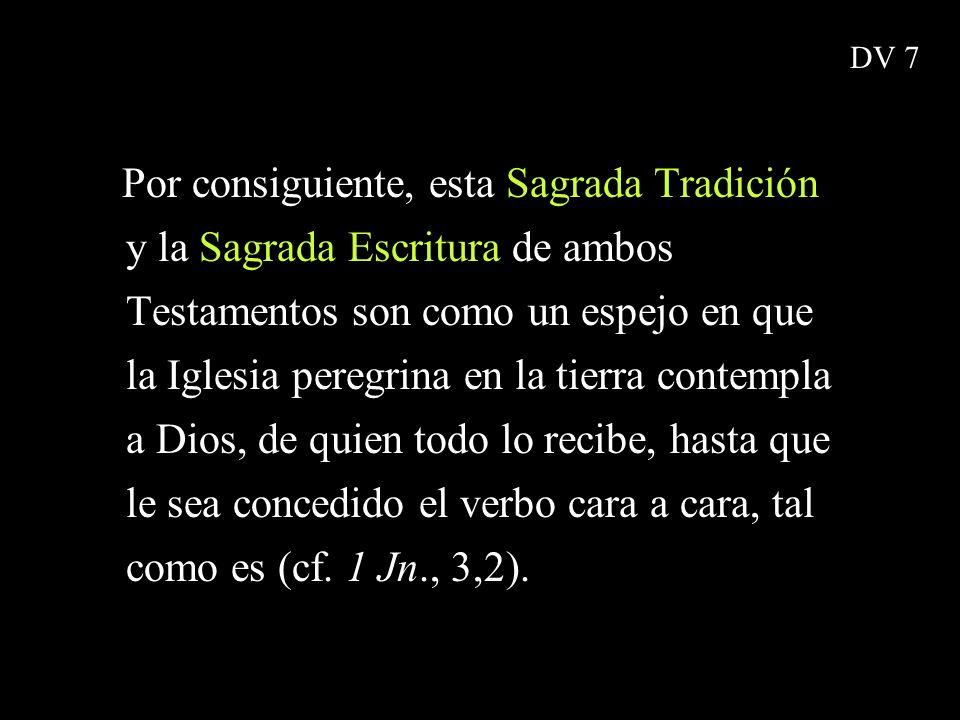 Por consiguiente, esta Sagrada Tradición y la Sagrada Escritura de ambos Testamentos son como un espejo en que la Iglesia peregrina en la tierra conte