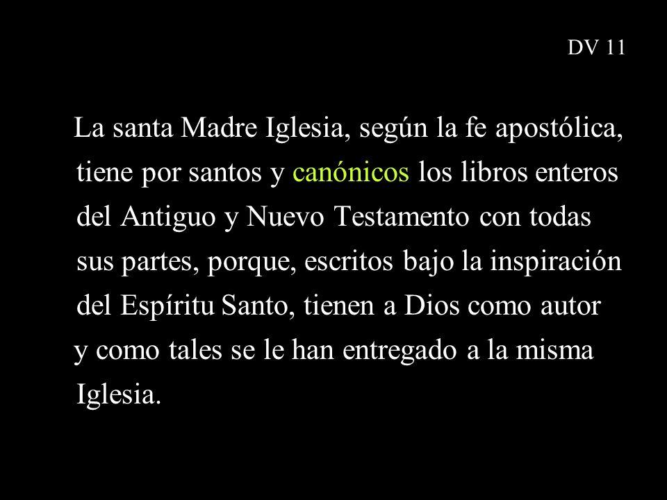 DV 11 La santa Madre Iglesia, según la fe apostólica, tiene por santos y canónicos los libros enteros del Antiguo y Nuevo Testamento con todas sus par