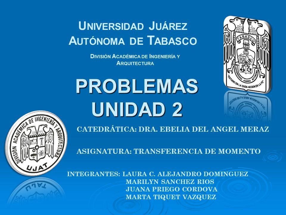 PROBLEMAS UNIDAD 2 U NIVERSIDAD J UÁREZ A UTÓNOMA DE T ABASCO D IVISIÓN A CADÉMICA DE I NGENIERÍA Y A RQUITECTURA CATEDRÁTICA: DRA. EBELIA DEL ANGEL M