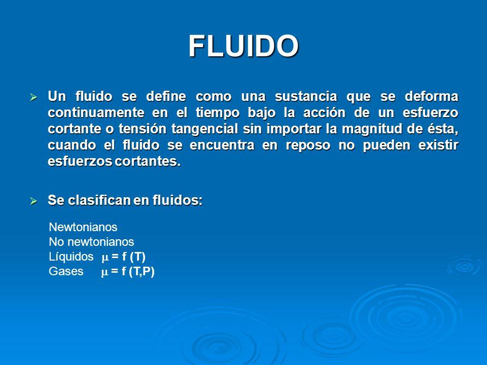 FLUIDO Un fluido se define como una sustancia que se deforma continuamente en el tiempo bajo la acción de un esfuerzo cortante o tensión tangencial si