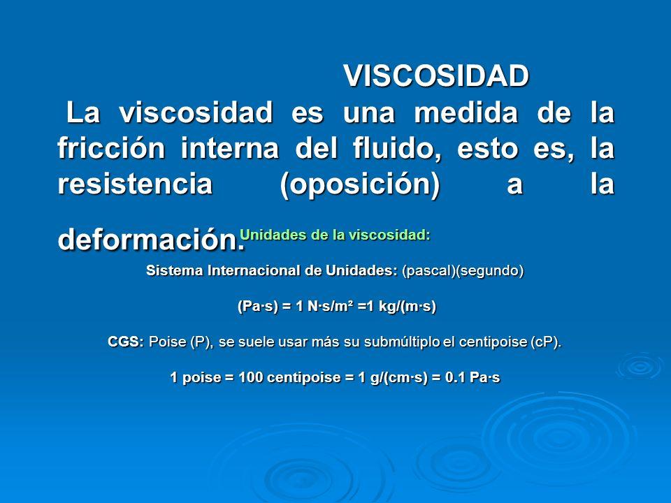 VISCOSIDAD La viscosidad es una medida de la fricción interna del fluido, esto es, la resistencia (oposición) a la deformación. Unidades de la viscosi
