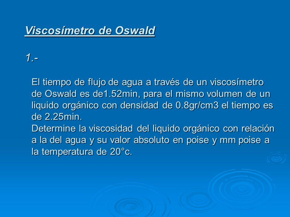 Viscosímetro de Oswald 1.- El tiempo de flujo de agua a través de un viscosímetro de Oswald es de1.52min, para el mismo volumen de un liquido orgánico