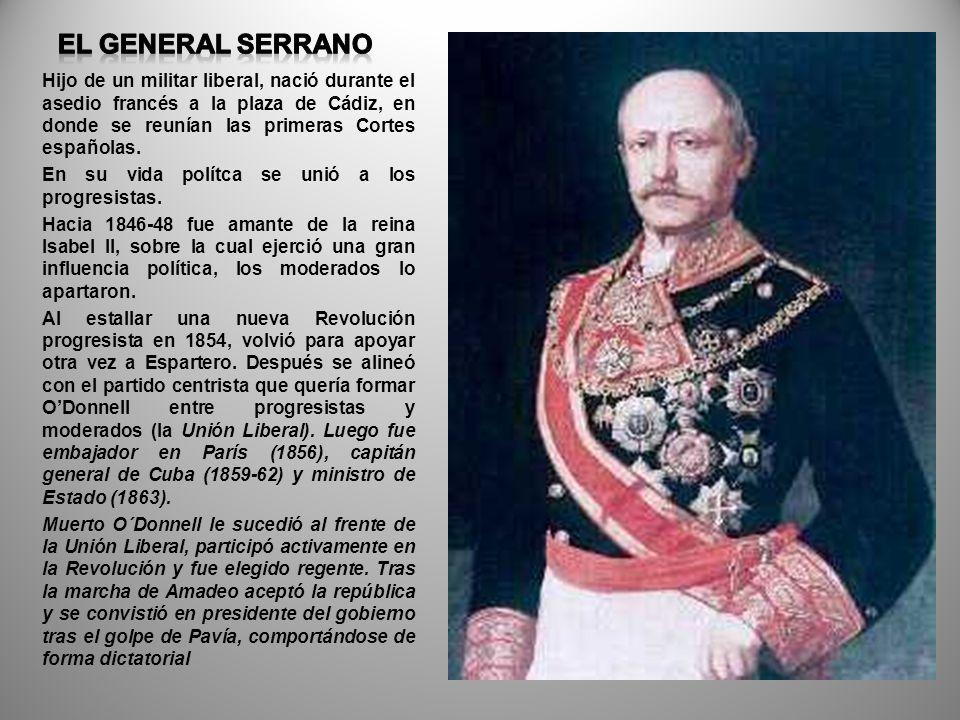 Hijo de un militar liberal, nació durante el asedio francés a la plaza de Cádiz, en donde se reunían las primeras Cortes españolas. En su vida polítca