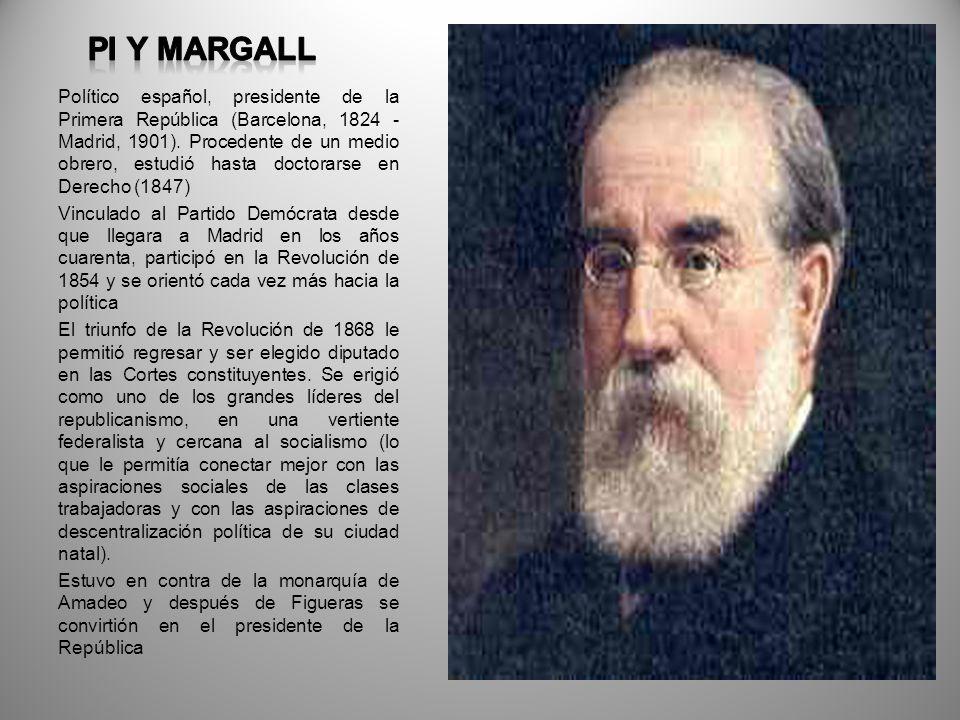 Político español, presidente de la Primera República (Barcelona, 1824 - Madrid, 1901). Procedente de un medio obrero, estudió hasta doctorarse en Dere