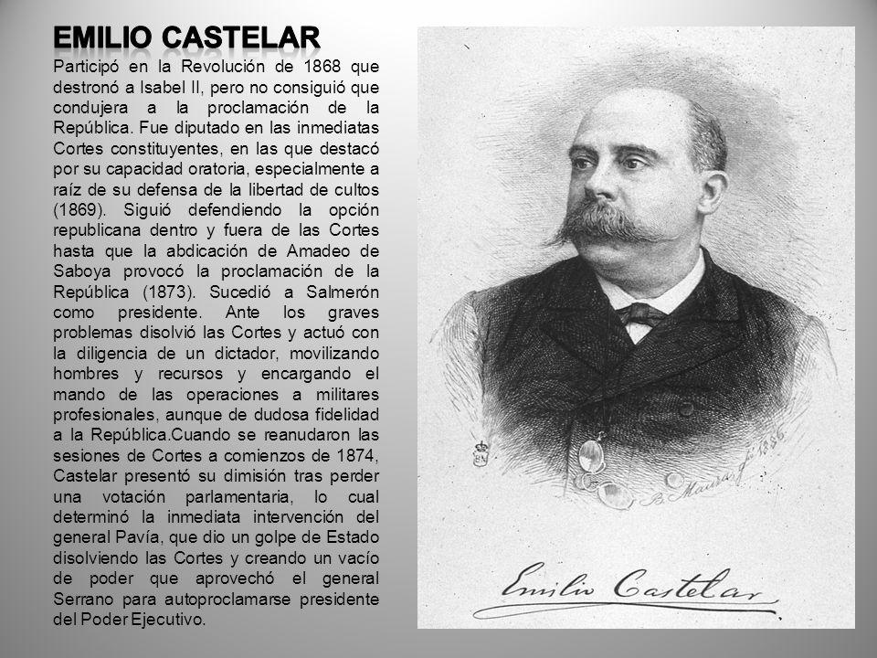 Participó en la Revolución de 1868 que destronó a Isabel II, pero no consiguió que condujera a la proclamación de la República. Fue diputado en las in