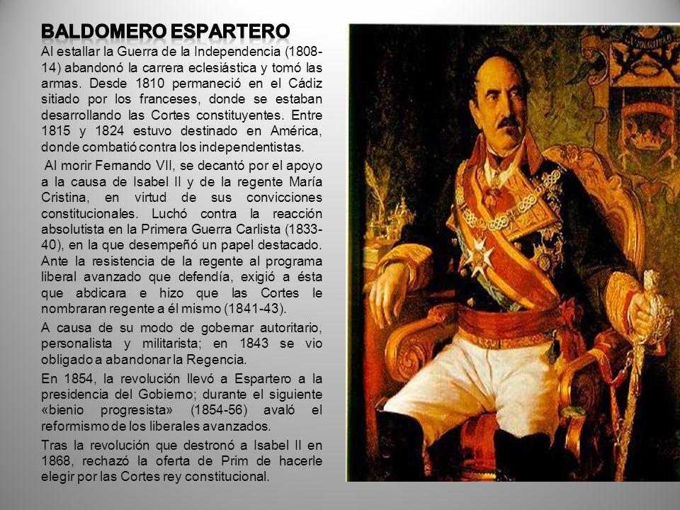 RAMÓN MARÍA NARVÁEZ Durante el Trienio Constitucional (1820-23) se decantó por los partidarios del liberalismo y tuvo un papel destacado en la lucha contra la sublevación absolutista de la Guardia Real de Madrid (1822).