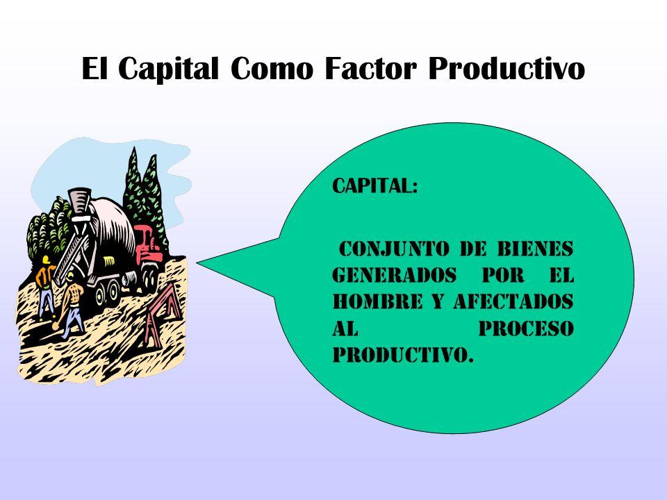 El Capital Como Factor Productivo CAPITAL: Conjunto de bienes generados por el hombre y afectados al proceso productivo.