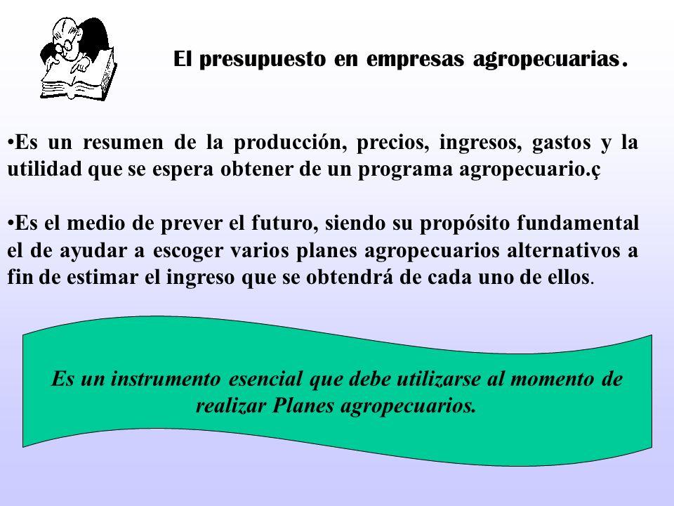 El presupuesto en empresas agropecuarias. Es un resumen de la producción, precios, ingresos, gastos y la utilidad que se espera obtener de un programa