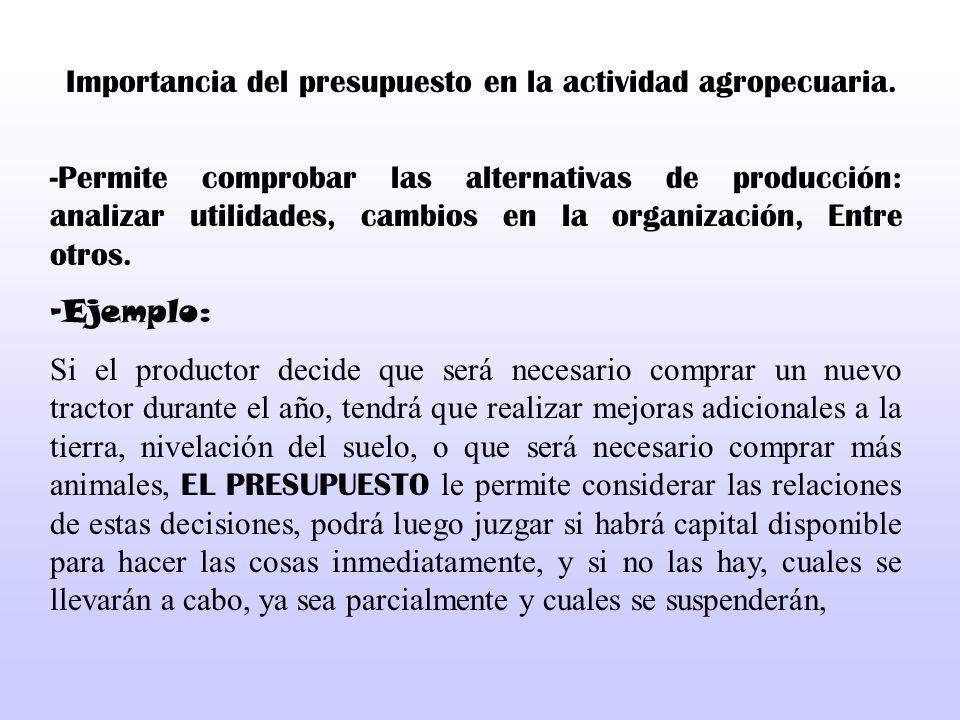 Importancia del presupuesto en la actividad agropecuaria. -Permite comprobar las alternativas de producción: analizar utilidades, cambios en la organi