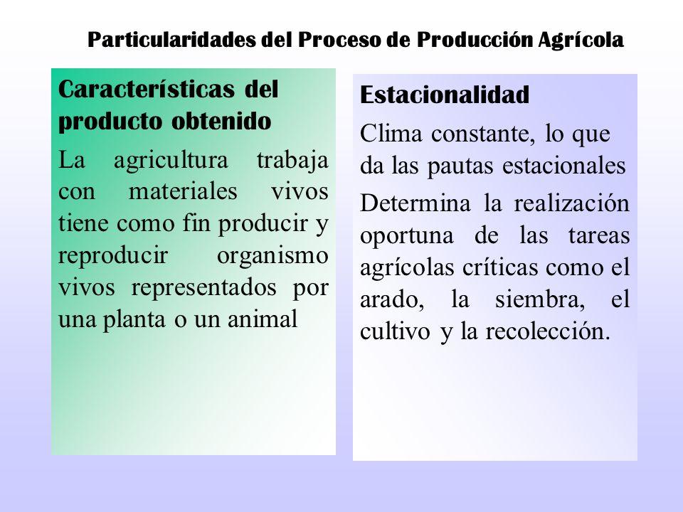 Particularidades del Proceso de Producción Agrícola Características del producto obtenido La agricultura trabaja con materiales vivos tiene como fin p
