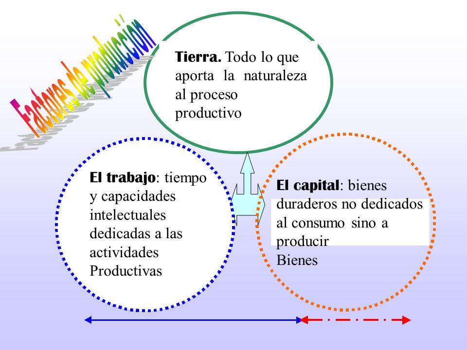 Tierra. Todo lo que aporta la naturaleza al proceso productivo El trabajo : tiempo y capacidades intelectuales dedicadas a las actividades Productivas