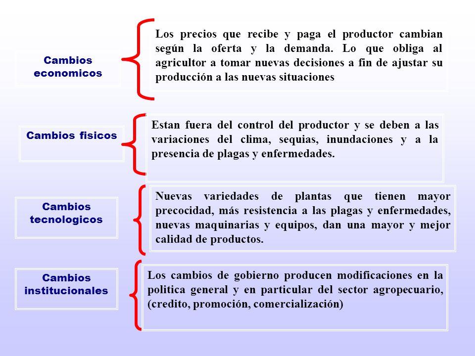 Cambios economicos Los precios que recibe y paga el productor cambian según la oferta y la demanda. Lo que obliga al agricultor a tomar nuevas decisio