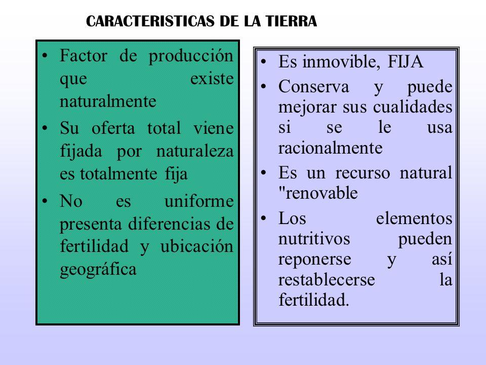 Factor de producción que existe naturalmente Su oferta total viene fijada por naturaleza es totalmente fija No es uniforme presenta diferencias de fer
