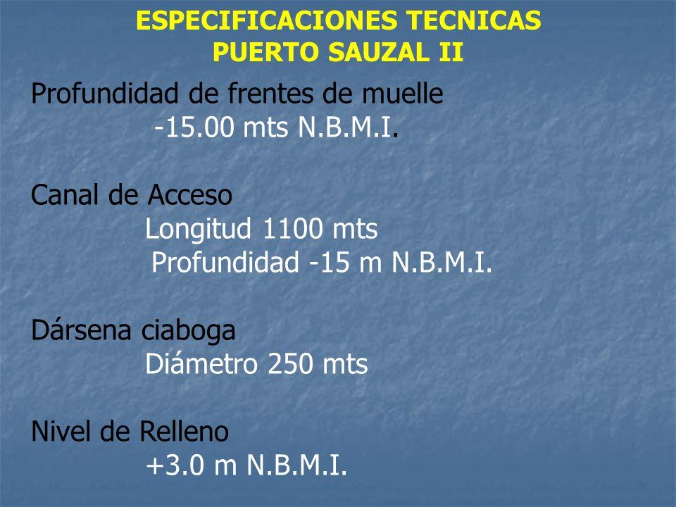 ESPECIFICACIONES TECNICAS PUERTO SAUZAL II Profundidad de frentes de muelle -15.00 mts N.B.M.I. Canal de Acceso Longitud 1100 mts Profundidad -15 m N.
