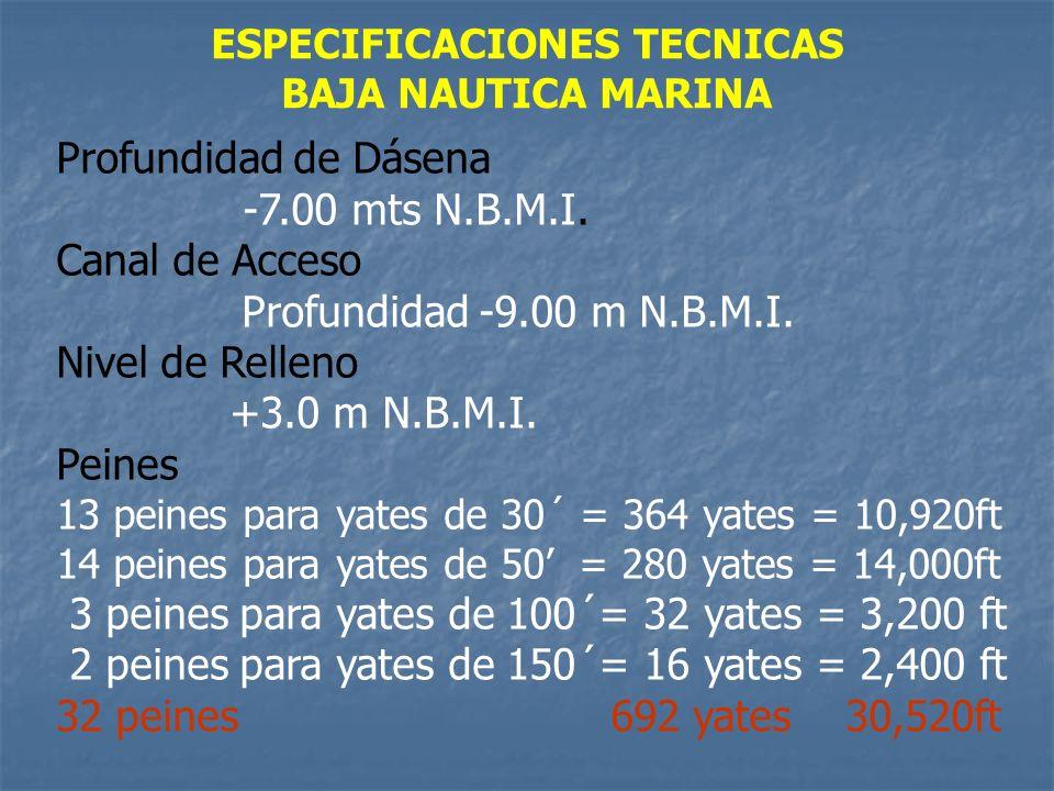 ESPECIFICACIONES TECNICAS BAJA NAUTICA MARINA Profundidad de Dásena -7.00 mts N.B.M.I. Canal de Acceso Profundidad -9.00 m N.B.M.I. Nivel de Relleno +