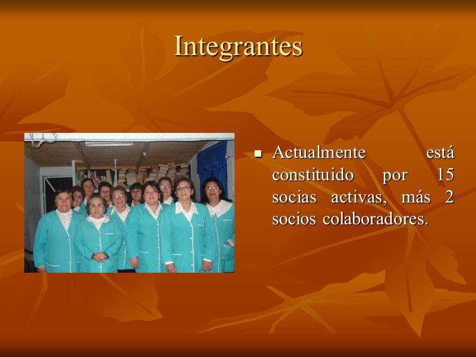 Integrantes Actualmente está constituido por 15 socias activas, más 2 socios colaboradores. Actualmente está constituido por 15 socias activas, más 2