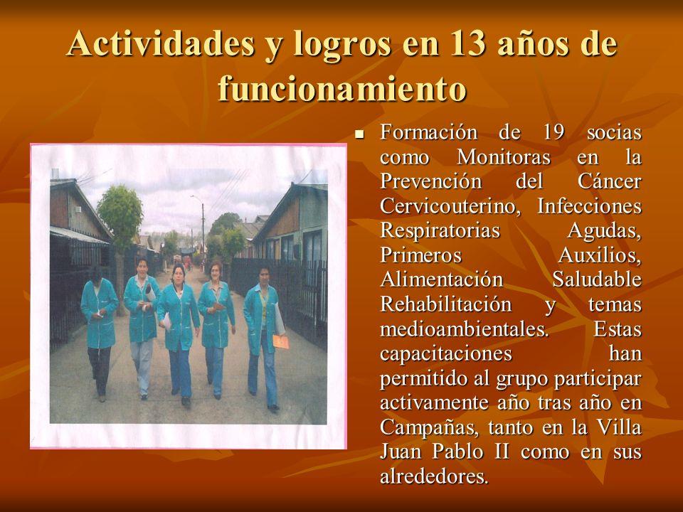 Actividades y logros en 13 años de funcionamiento Formación de 19 socias como Monitoras en la Prevención del Cáncer Cervicouterino, Infecciones Respir
