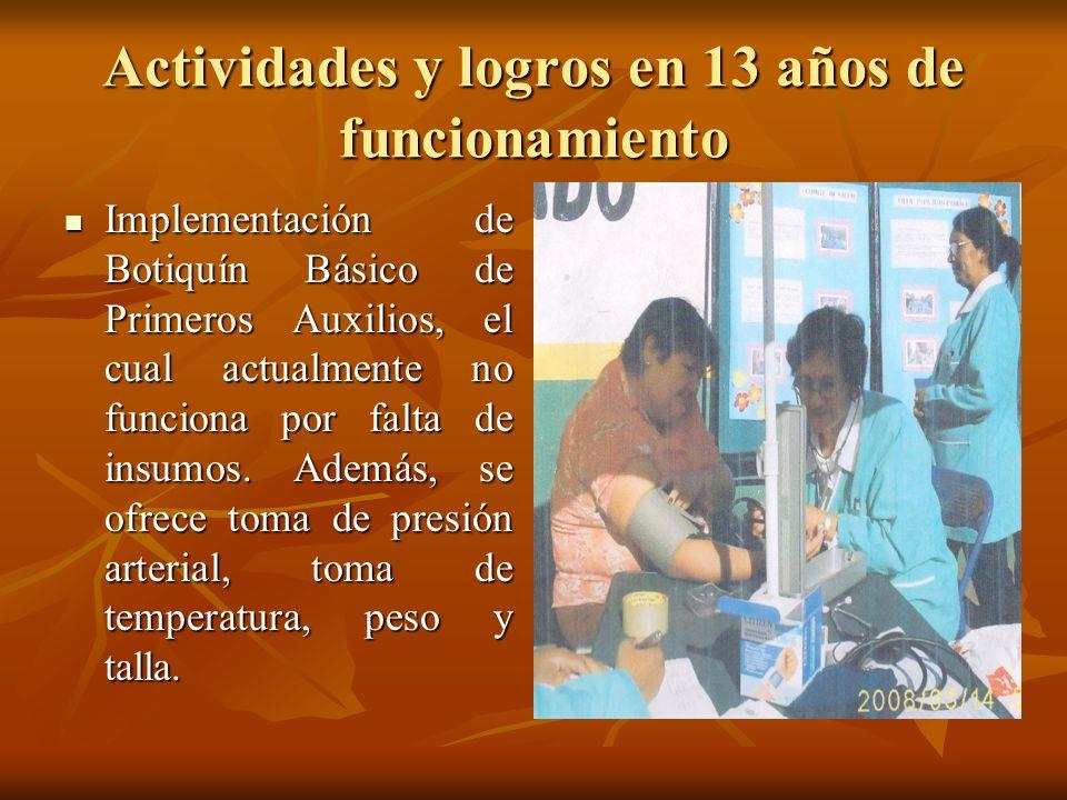 Actividades y logros en 13 años de funcionamiento Implementación de Botiquín Básico de Primeros Auxilios, el cual actualmente no funciona por falta de